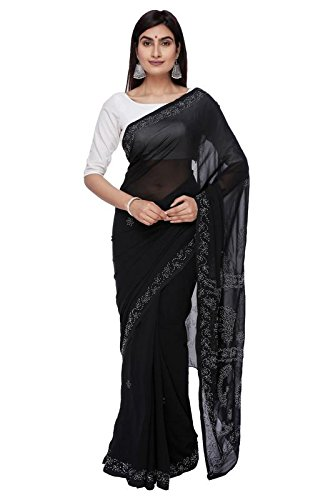 BDS Chikan Hand Embroidered Lucknow Chikankari Black Saree With Blouse For Women...