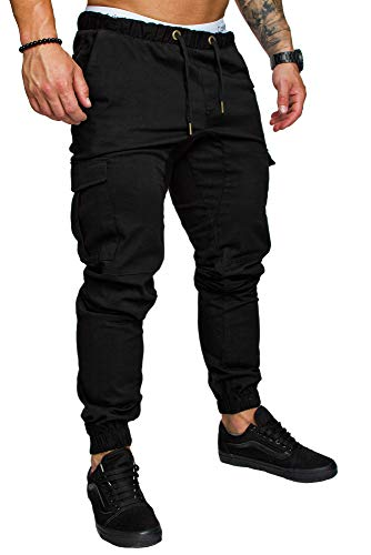 Amaci&Sons Jogger Cargo Herren Chino Jeans Hose 7001 Schwarz W31