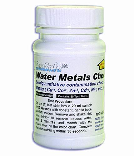 50 Heavy Metal-Teststreifen, Testing Kit für Eisen, Kupfer, Kobalt, Zink, Cadmium, Nickel, Blei, Quecksilber