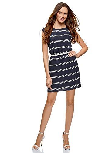 oodji Ultra Damen Viskose-Kleid Basic mit Gürtel, Blau, DE 42/EU 44/XL