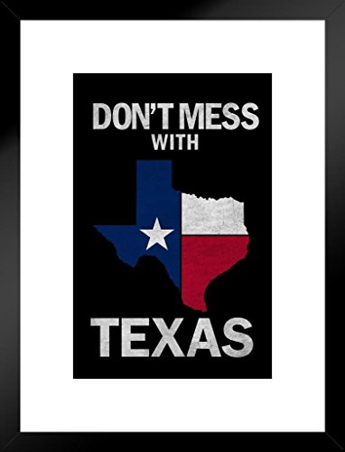 Dont Mess Texas State Flag Lone Star State Symbol Flag 20x26 inches Matted Framed Poster ()