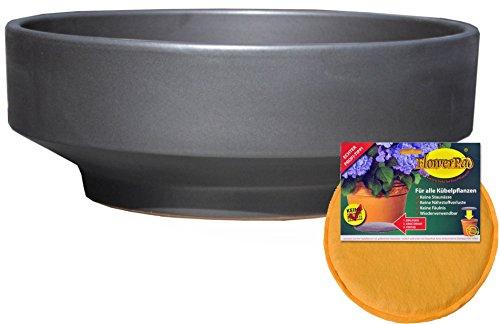 Hentschke Keramik Spar Set: Pflanzschale Grabschale + FlowerPad Ø 33 x 13 cm, Anthrazit, 059.L33.70 mit Bodenloch