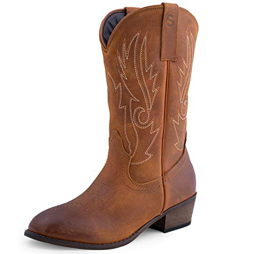 SheSole Damen Cowboystiefel Halbhohe Western Leder Stiefel Schuhe Bräunen 36 (Stiefel Frauen Braune Kurze)