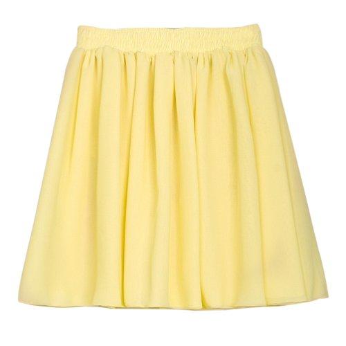 Hee Grand Damen Retro Sexy Damen Chiffon Rock Faltenrock Minirock Tuellrock Kurz Skirt Gelb