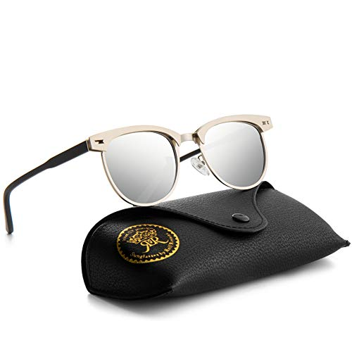 Mini Tree Rocf Rossini Halbrandlose Polarisierte Sonnenbrille für Männer Klassische Metall Retro Polarisierte Frauen Sonnenbrille UV400 (Silber)