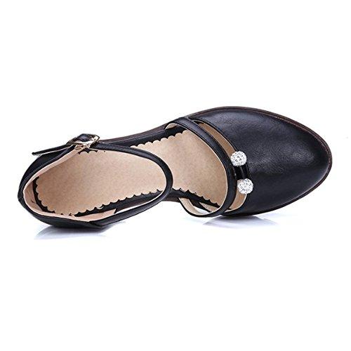 Escarpins femme en simili cuir bout arrondi sandales à plateforme attache sur cheville Noir