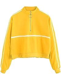Huhu833 Pullover Damen, Damen Langarm Sweatshirt Jumper Pullover Streifen  Bluse 77dd71f2be