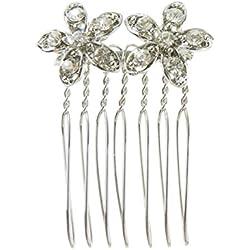 Mädchen Damen 2cm Silber Ton funkelnden Hochzeit Brautschmuck Haarkamm Diamant Floral