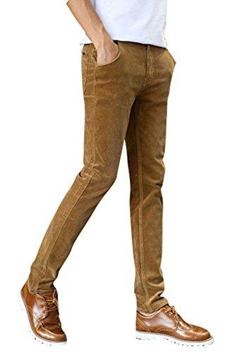 Menschwear Herren Cordhose strecken Baumwolle schlanke Passform Khaki 32