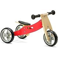 Nicko Mini 2 in 1 Wooden Balance Bike Toddler Trike Red 18 months +