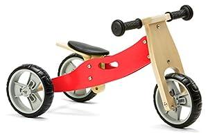 Nicko Mini 2 en 1 Bicicleta de Equilibrio de Madera para niños de 18 Meses, Color Rojo