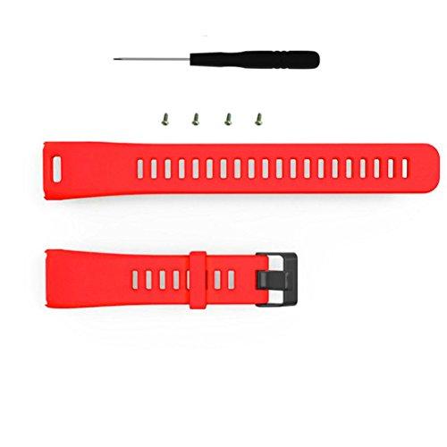 squarex Ersatz-Armband aus weichem Silikon für Garmin Vivosmart HR, Damen, rot, AS Show