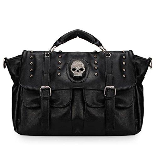 punk-skull-rivet-correa-bolsa-black-leather-bolso-a-mano-handbag