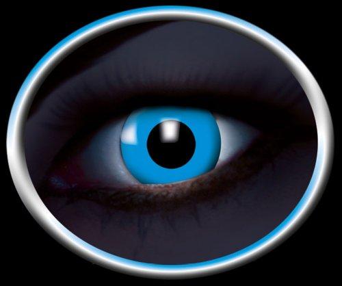 Eyecatcher Color Fun - Farbige UV Kontaktlinsen - Flash Blue / Blau - leuchten bei Schwarzlicht - 1 Paar - Ideal für Karneval, Fasching, Halloween & (Kontaktlinsen Leuchtend Blaue)