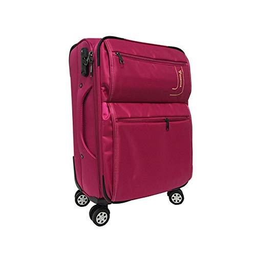 Gepäck, leicht, erweiterbar, wasserdicht, Softshell-Koffer, Business Boarding, das Chassis mit 8 Spinnrädern, Teleskopgriff, 50,8-61 - 71 cm, für Damen und Herren rot 28-inch
