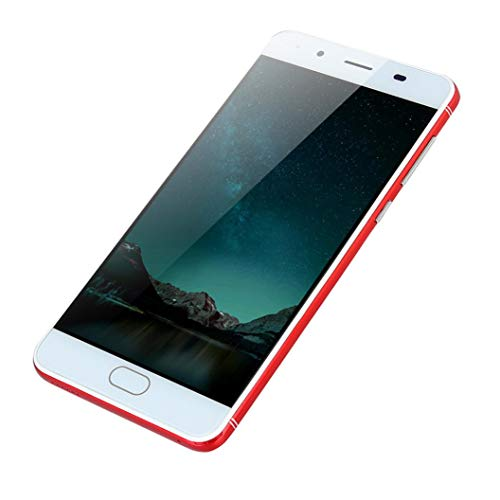 samLIKE ohne Vertrag Smartphone Ultradünn Günstig Handy Ultra-HD-Bildschirm 5,0 Zoll Android Cell Phone Quad-Core 512MB + 4GB GSM, mit Dual-Kamera + Dual-Sim, 3G + WLAN (Rot) Samsung 3g Phones