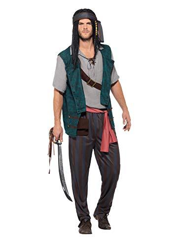 Smiffy 's-Disfraz de 47202l Deckhand pirata, para hombre, verde, l-uk tamaño 42