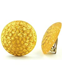 Jewelry Earrings ear clip yellow tone frosted with structure 30mm