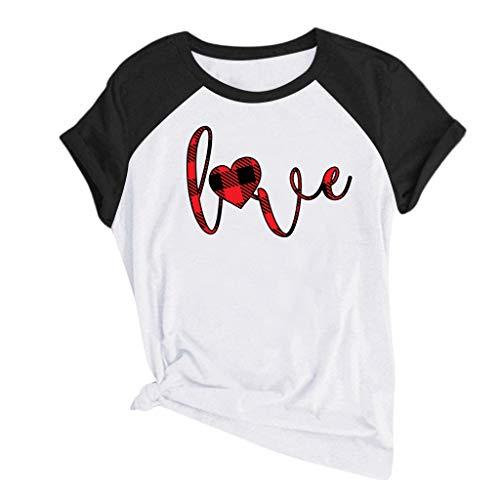 KIMODO Damen Kurzarm O-Ausschnitt T-Shirt Sommer Casual Tops Bluse Einfarbig Herzdruck T-Shirt Lose Plus Größe Oberteile Shirt (B-Schwarz, XXX-Large)