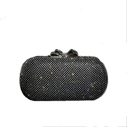 aiai Abendtasche, Mobile Dress Bag, Bag Bankett Damen Handtasche, Mini Clutch, Black Diamond mit Bogen - Black Diamond-kupplung