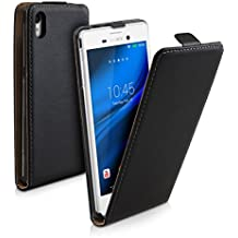 kwmobile Funda para Sony Xperia M4 Aqua - Flip Case para móvil en cuero sintético - Cover plegable negro