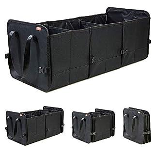 achilles Vario-Box Faltbarer Auto-Organizer größenverstellbare Kofferraum-Tasche-Korb mit Klettbefestigung am Boden großer Falt-Korb mit Langen Henkeln stabile Klapp-Box schwarz 72x33x30cm