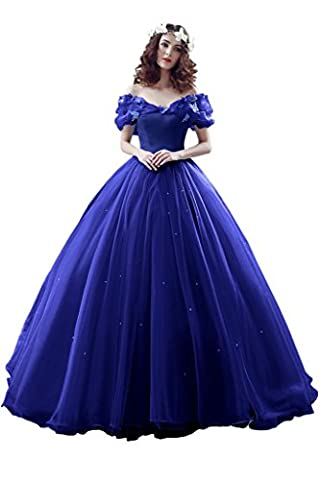 Sunvary Robe Longue Robe de Mariage Robe de Soiree Robe de Ceremonie Epaule Degagee Romantique Manche Courte en Papillon Perle Princesse Cordon de Serrage-36-Bleu roi
