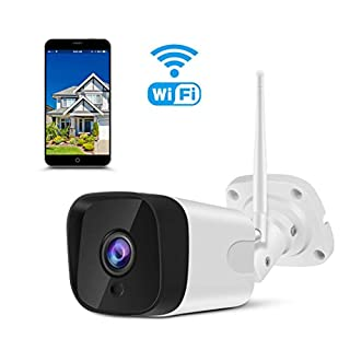 Outdoor Security Camera, 1080P Weatherproof WiFi Bullet Camera Wireless IP CCTV Camera with 2-Way Audio, 66ft IR Night Vision, Motion Detection, Remote Viewing, Compatible with iOS/Android