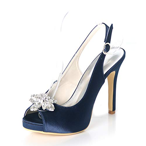 Leder Mary Jane Schuhe Anziehen (ZM-Shoes Damen High Heels Peep Toe Brautschuhe Glitzer Strass Pfennigabsatz Hochzeit Brautjungfer Schuhe,Navyblue,40)
