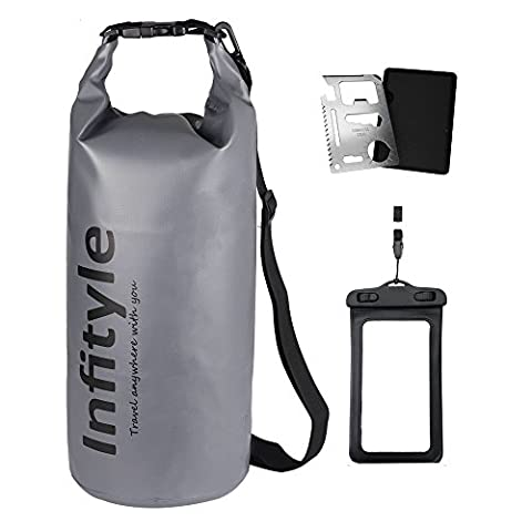 Waterproof Dry Bags - Floating Compression Stuff Sacks Gear Backpacks for Kayaking Camping - Bundled with Phone Case and Pocket Tool (Gray,