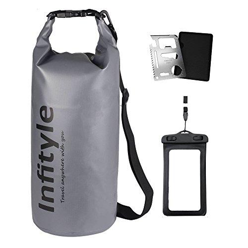 Saco estanco flotante con funda para teléfono móvil y herramienta de bolsillo, color gris, tamaño 30L