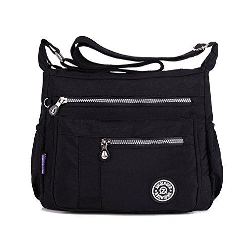 MeCooler Donna Borse a Spalla Leggero Borsello Moda Borsa Tracolla Impermeabile Sacchetto Scuola Borse da Viaggio per Sport Bag Ragazze Borsetta Nero