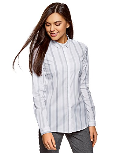 oodji Ultra Damen Taillierte Bluse Gestreift, Grau, DE 42 / EU 44 / XL
