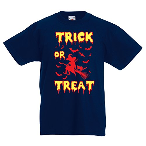 lepni.me Kinder T-Shirt Trick or Treat - Halloween Witch - Party outfites - Scary costume (9-11 years Dunkelblau - Minecraft Song Halloween
