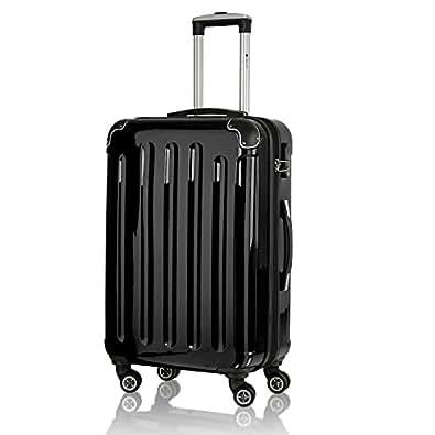 Reisekoffer Koffer Trolley 75 Liter Dehnfalte Hartschale schwarz L