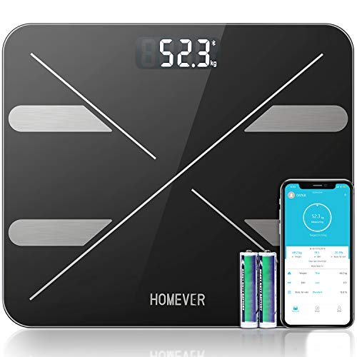 Pèse Personnes Impédancemètre, Homever Balance Pese Personne, Balance Connectée APP pour BMI/Muscle/Eau/Graisse Corporelle/Masse osseuse etc, 180kg/400lb/28st,Pour IOS et Android