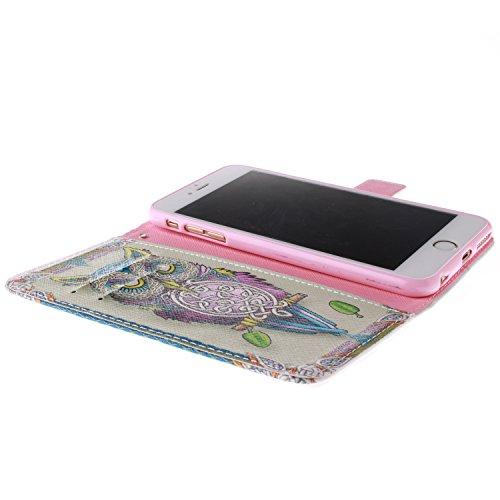 """Ooboom® iPhone 6/6S 4.7"""" Hülle Flip PU Leder Schutzhülle Handy Tasche Case Cover Wallet Standfunktion mit Kartenfächer Magnetverschluss für iPhone 6/6S 4.7"""" - Löwe Eule"""