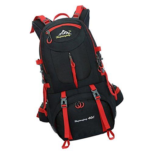 Hochwertig, 40L Groß u. Wasserdicht Rucksack für Radfahren Camping Bergsteigen Klettern Reisen Wandern Trekking usw. Outdoor Sport Schwarz