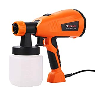 GOXAWEE HVLP Paint Sprayer, 400W Electric Spray Gun, 800ml Detachable Container, 3 Spray Patterns, Adjustable Paint Flow Valve for Fencing, Ceilings, Walls, Floors Painting