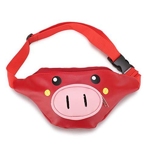 ZLBZBB Kindergartentaschen für Kinder, Brusttasche, kleine Prinzessin Schulter Diagonal Tasche, koreanische Version, Cartoon niedlichen Schwein, Snack Bag 21X11X6 Red (Standard-prozess-labs)
