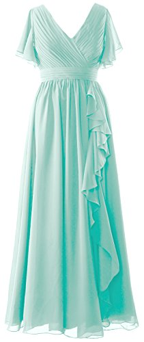 MACloth Women Short Sleeves Mother of the Bride Dress V Neck Formal Evening Gown Aqua