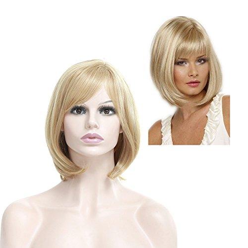 Parrucca di capelli, per donna, parrucca sintetica, colore: biondo chiaro, capelli corti, lisci, fantastica parrucca sintetica, effetto naturale, come capelli veri