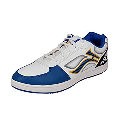 Lancer Men's White and Blue Synthetic Running Shoes (TS-1 WHT-RBL-44) - (10 UK)