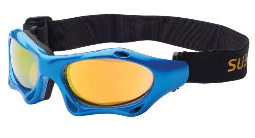 Sport Sonnenbrille mit Band kitebrille skibrille Sportbrille zum Wintersport, Kitesurfen oder Wassersport, blau / gelb verspiegelt Art. 7039-8