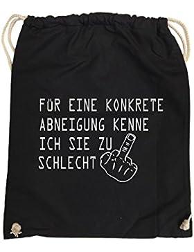 Comedy Bags - FÜR EINE KONKRETE ABNEIGUNG - FUCK FINGER – hipster Turnbeutel bedruckter Gymbag aus 100 % Baumwolle...