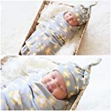 SLB Works Brand New Newborn Fashion Baby Swaddle Blanket Baby Sleeping Swaddle Muslin Wrap WIth Hat