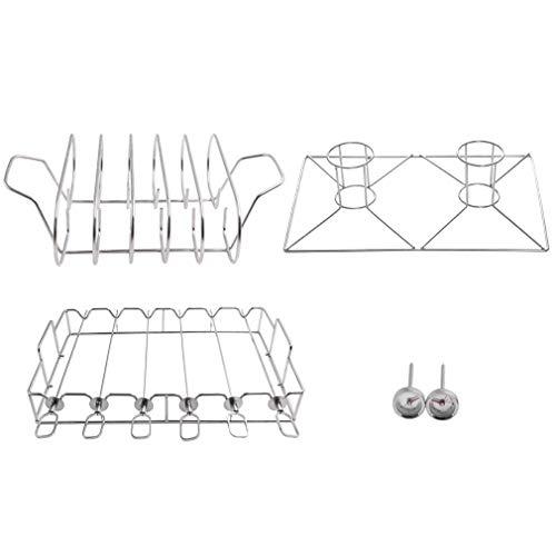 Onlyfire FPA-5104 Set d'accessoires pour grillades - Set de brochettes Shish Kebab, Support pour côtes, Torréfacteur de Poulet en canette de bière, 2X Thermomètre pour Barbecue