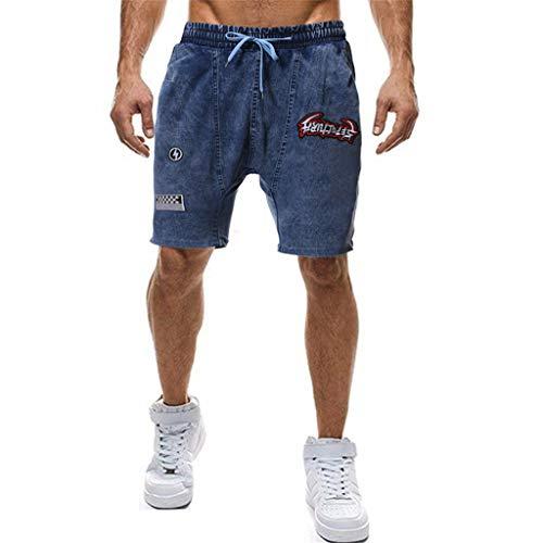 MOTOCO Herren Übergröße Baumwoll Freizeitjeans Kurz Mit Elastischer Taille Taschen Plissee Stitching Druck Half Pants(XL,Dunkelblau) - Oshkosh Cord-overalls