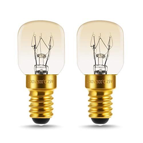 LOHAS 25W Backofenlampe, E14 Edison Screw Base, Warmweiß, Dimmbar, Bis 300°C Hitzebeständiges, Mikrowellenlampe, Nähmaschinen, Leuchtmittel, 250LM, 360 Grad Abstrahlwinkel, 220-240V AC/DC, 2er Pack