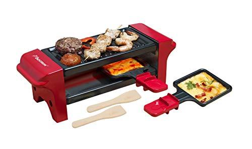 Bestron Mini Raclette, Para 1 ó 2 Personas, Antiadherente, 350 W, Rojo/Negro